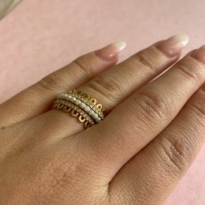 Kate Spade layer ring stack size 7 gold and pearl